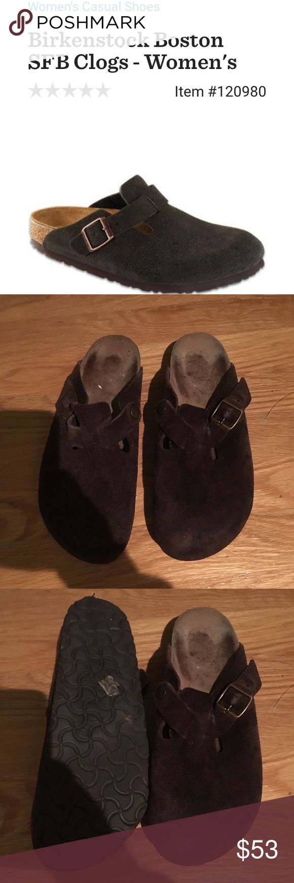 Birkenstock 'Boston' shoes in Mocha suede Size 8 Birkenstock Boston Slides in Mocha Sues. Gently worn, in good condition no stains or tears! Birkenstock Shoes