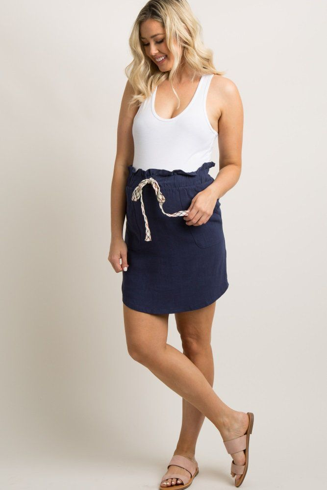 e1bb9e6e14cbb Navy Blue Drawstring Linen Skirt A solid hued, linen maternity skirt  featuring a cinched elastic ruffle trim waistband with a multi-colored  woven drawstring ...