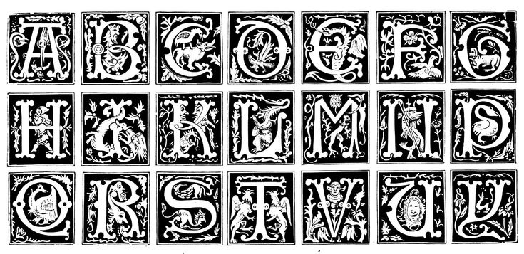 Free coloring page coloring-medieval-10. Alphabet letters represented in the Middle Ages, with varying patterns, styles and inspiration : plants, people (theater), animals, etc ...
