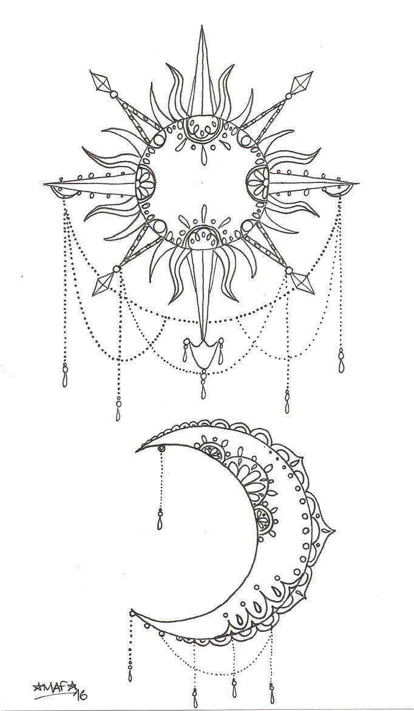 Tatuaggio Sole E Luna Di Mafcartoons Tatuaggi Tatuaggi Sole