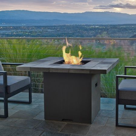 Salida Square Gas Fire Pit Table | WoodlandDirect.com: Outdoor Fireplaces: Fire Pits - Gas, Real Flame #LearnShopEnjoy