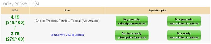 Today Tennis & Football Accumulator @ 3.79. Join now : http://www.premiumtipping.com/