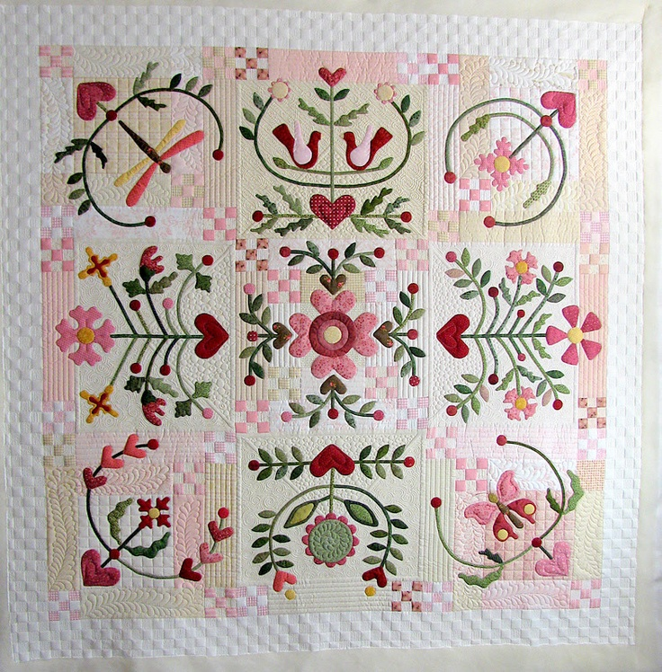 """Joy of Life"" by Jan Hutchison, The Secret Life of Mrs. Meatloaf.  Block-of-the-month quilt design by Rosalie Quinlan"