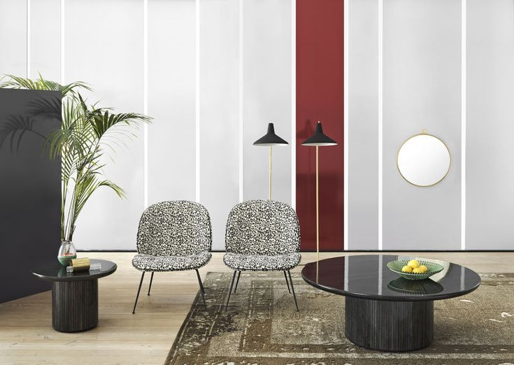GUBI // Beetle lounge chair with Pierre Frey Jungle upholstery, G10 floor lamp in black, Randaccio mirror in brass - size Ø60 and Moon lounge tables - sizes Ø60 cm & Ø120 cm