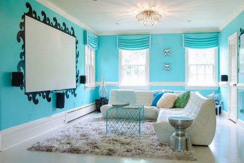 Teen hang-out space...  Love the bold blue color!