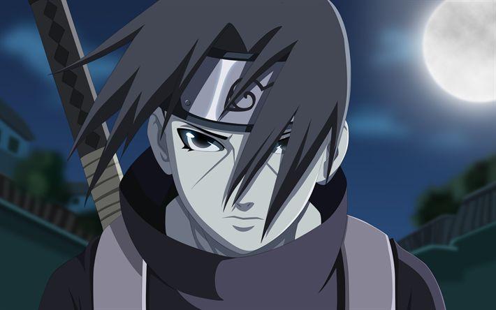Descargar fondos de pantalla Itachi Uchiha, el arte, la manga, la luna, Naruto