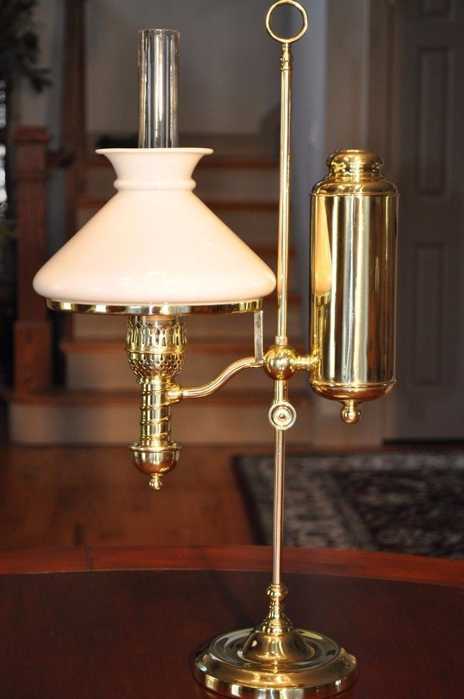 Victorian Manhattan Brass Student Lamp 7 Quot Bristol Shade In