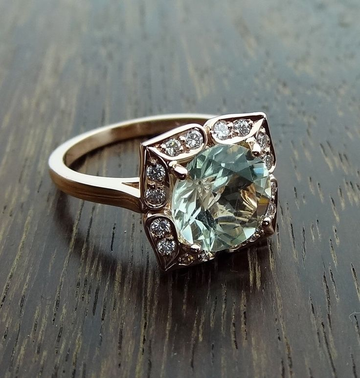14K Rose Gold Vintage Floral Green Aquamarine Color Amethyst Engagement Ring Scalloped Diamonds Antique Style