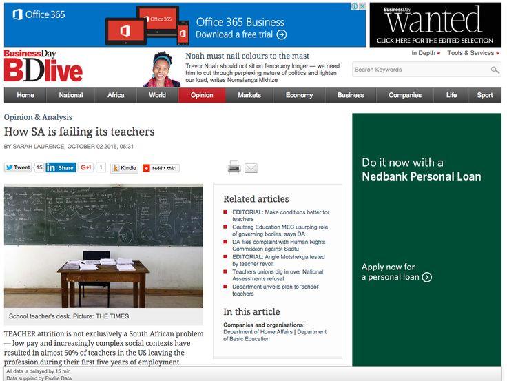 How SA is failing its teachers   Business Day - Sarah Evelyn