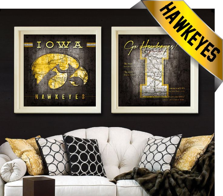Iowa Hawkeyes 2 pc Map Set - Featuring University of Iowa Fight Song - Perfect Christmas Dorm Alumni or Birthday Gift - Unframed Prints