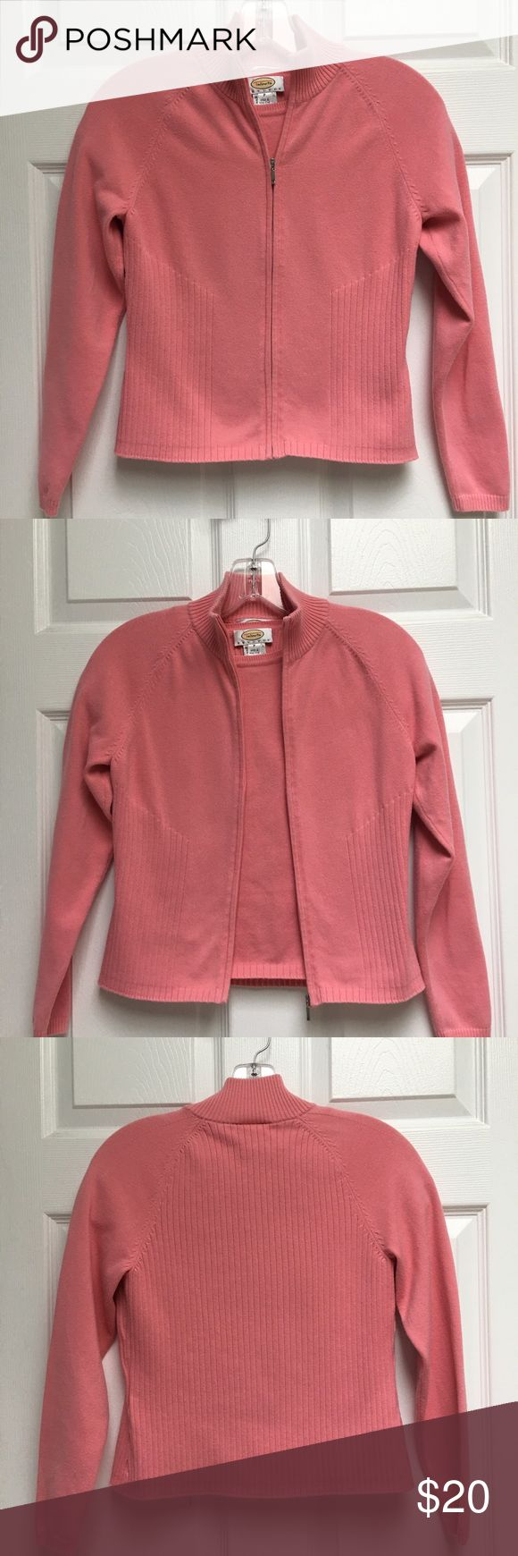 Talbots sweater set size petite Talbots Petites Size P Cotton candy pink 2 piece set Zip up cardigan with sleeveless shell Cotton/nylon/spandex Talbots Sweaters Cardigans