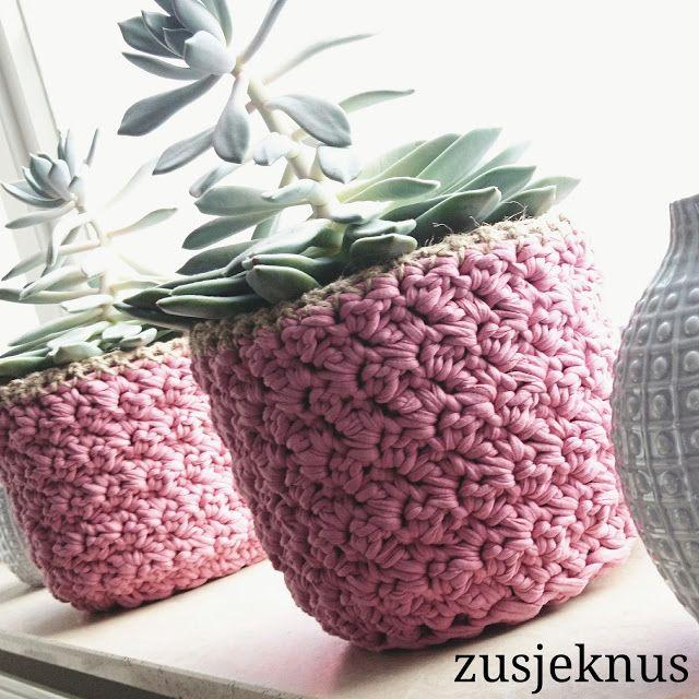 Crochet basket for flowerpot free pattern  Gehaakte mand voor bloempot. Gratis patroon