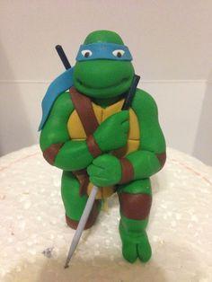 Modelado tortuga ninja leonardo, teenage mutant turtle ninja, cake fondant