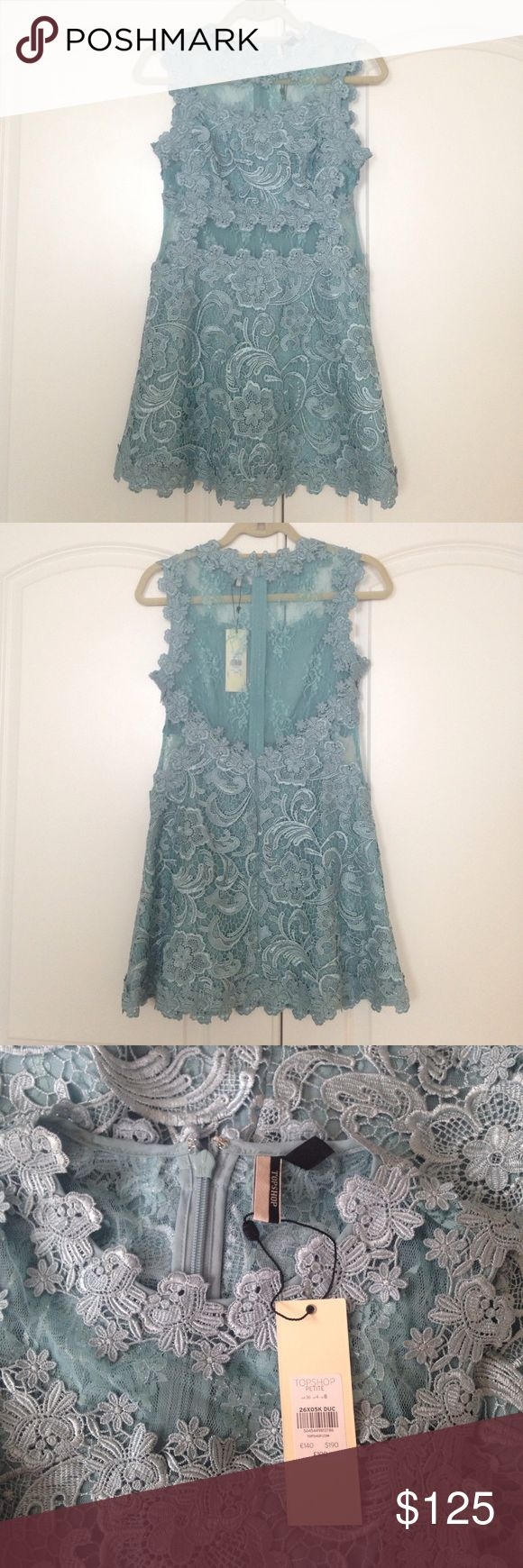 Topshop lace dress Topshop turquoise lace dress. Brand new with tags. Topshop PETITE Dresses