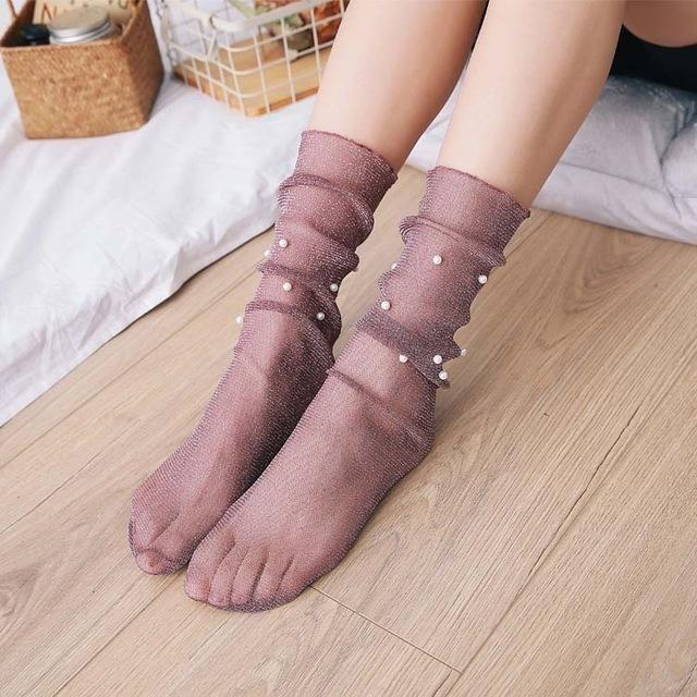 Glitter Mesh Socks
