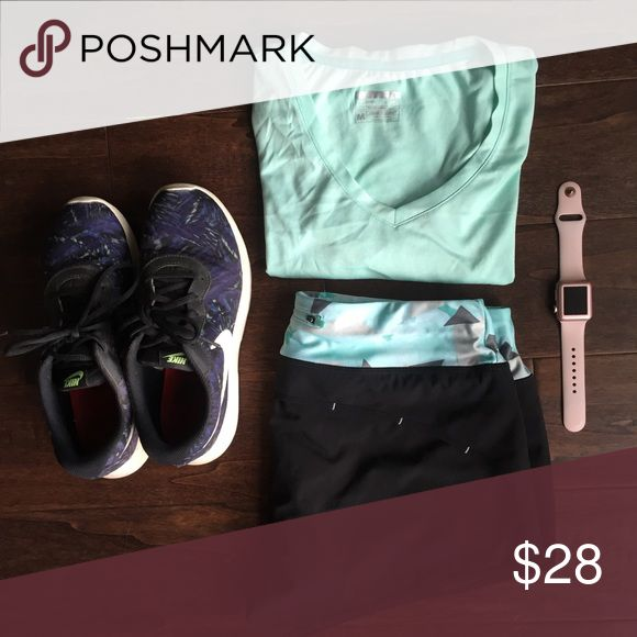 Minty Fresh Athletic Outfit 👌🏻 Mint green shirt sleeve top paired with geometric running shorts. Similar in style and fit to lululemon. Come as a pair or individual, but let's be real; this makes the best readymade workout look! Other