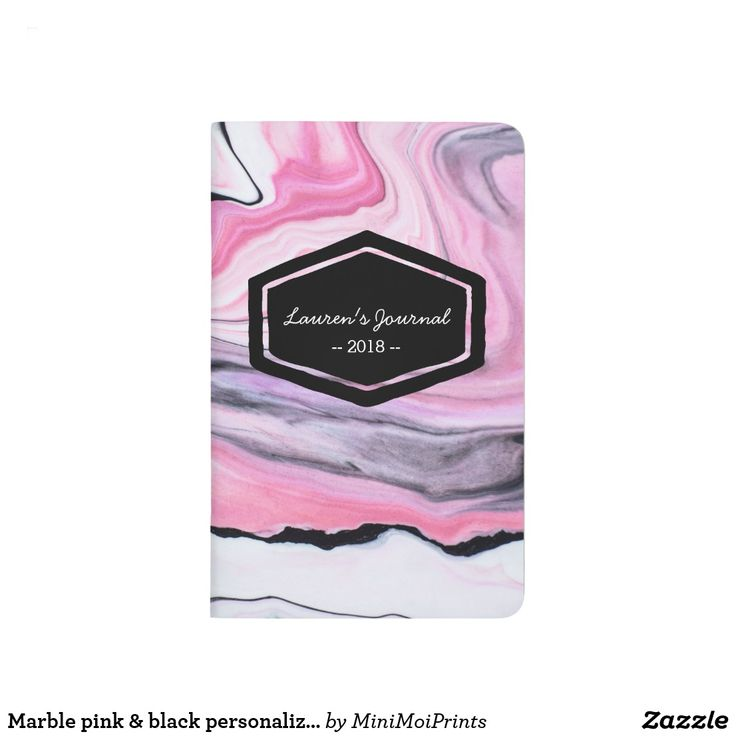 Marble pink & black personalized journal notebook #personalized #gift #journal