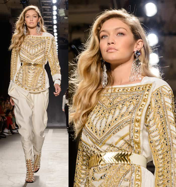Gigi Hadid walking the runway of the Balmain x H&M collection launch at 23 Wall St. in Manhattan on October 21, 2015