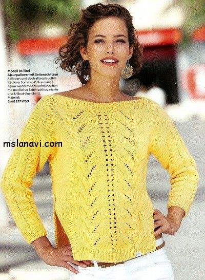 Ажурный пуловер спицами   http://mslanavi.com/2014/07/azhurnyj-pulover-s-razrezami-po-bokam/