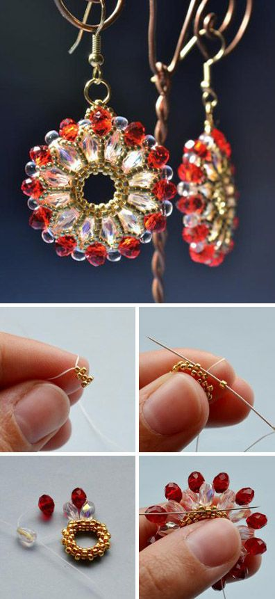 How to make bead weaving earrings. Click on image to see step-by-step tutorial