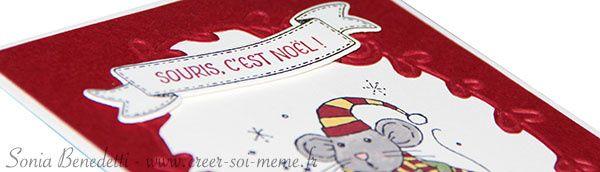 """3ème idée pour créer de jolie carte pour les fêtes de fin d'année: Cette carte est confectionnée avec le set de tampons """"Souris de Noël"""" (réf 143099 à 21€) et le plioir à gauffrage textured impressions jolies motifs cachemire (réf 141833 à 9€) Pour commander..."""