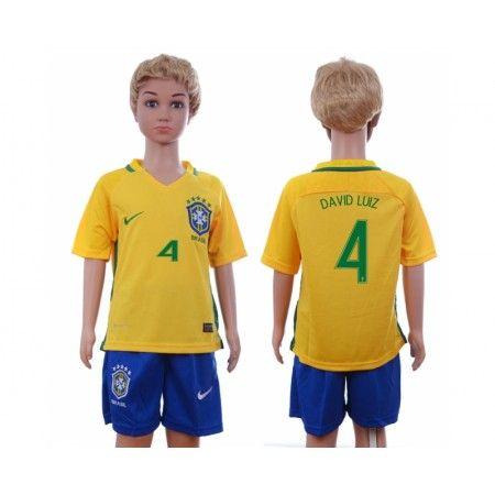 Brasilien Trøje Børn 2016 #David Luiz 4 Hjemmebanetrøje Kort ærmer.199,62KR.shirtshopservice@gmail.com