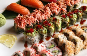 Godzilla roll and spider roll, very much my favorite meal