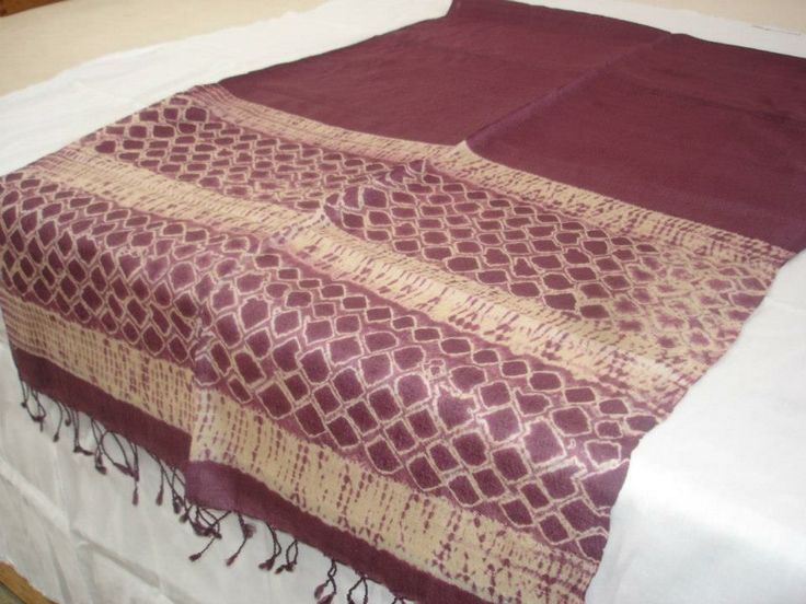 diamonds on maroon shibori silk stole