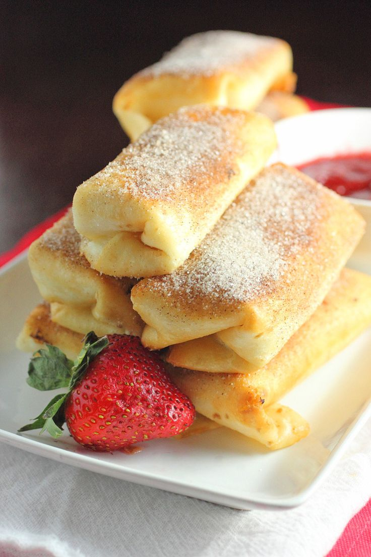 Fried Cheesecake Roll Ups with Strawberry Sauce