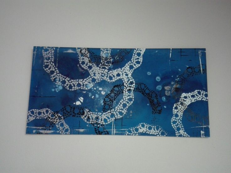 Abstract acrylic / acryl art painting, dark blue and silver with black. Technique is a modern abstract graphic arts and credit card art 30x60 cm