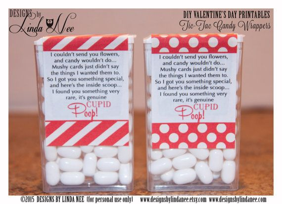 Tic Tac CUPID POOP Poem Red Dots and Stripes Valentine's Day ~ Valentine's Day DIY Craft ~ Love ~ Printable Tic Tac labels that you attach to a pack of tic tacs! They make perfect Valentine's Day gifts.