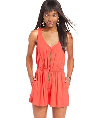 Material Girl Juniors Romper, Sleeveless Zip-Front Lattice-Back Romper - Swimwear - Women - Macy's