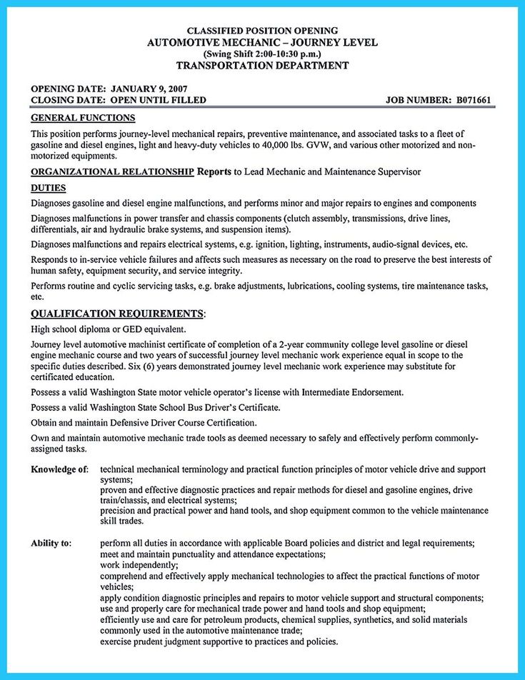 10 best Resume ideas images on Pinterest - sample auto mechanic resume