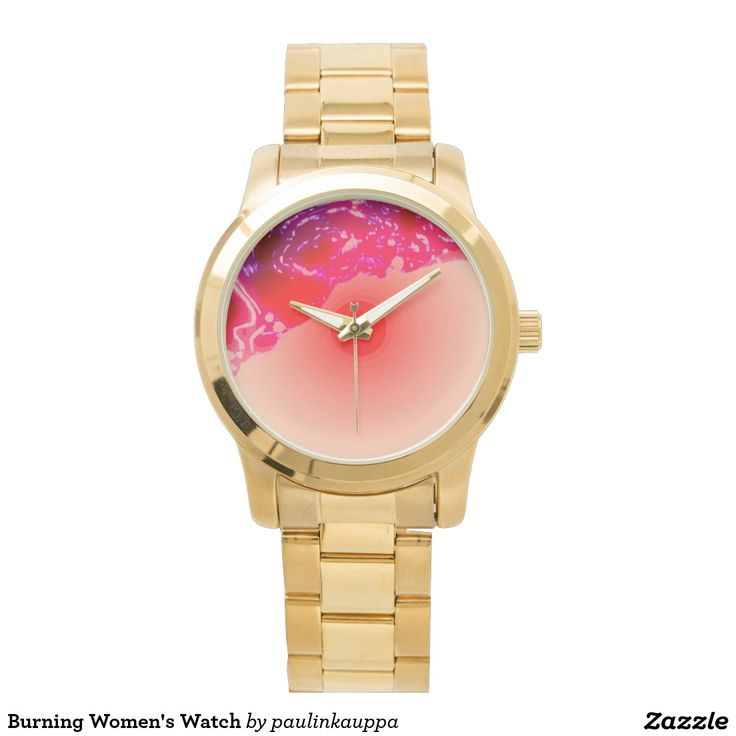 Burning Women's Watch  Oversized Gold Bracelet