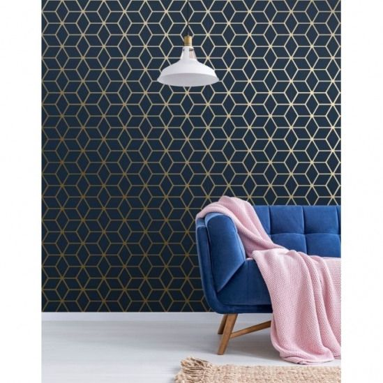 Cubic Shimmer Metallic Wallpaper Navy Blue Gold: Cubic Shimmer Metallic Wallpaper Navy Blue Gold (H264981