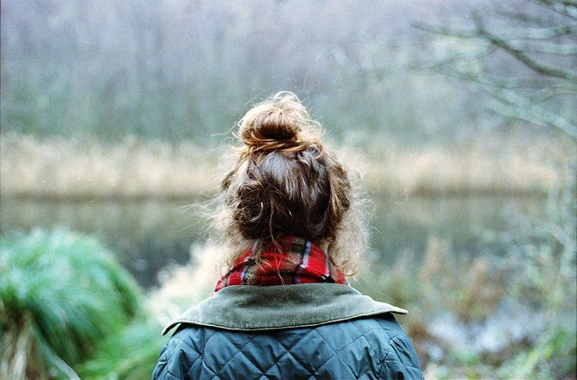 messy bun, quilted jacket.  source: by Jay Bing., via Flickr: Fashion, Clothes, Fall, Hairstyle, Messy Buns, Hair Style, Top Knot, Scarf