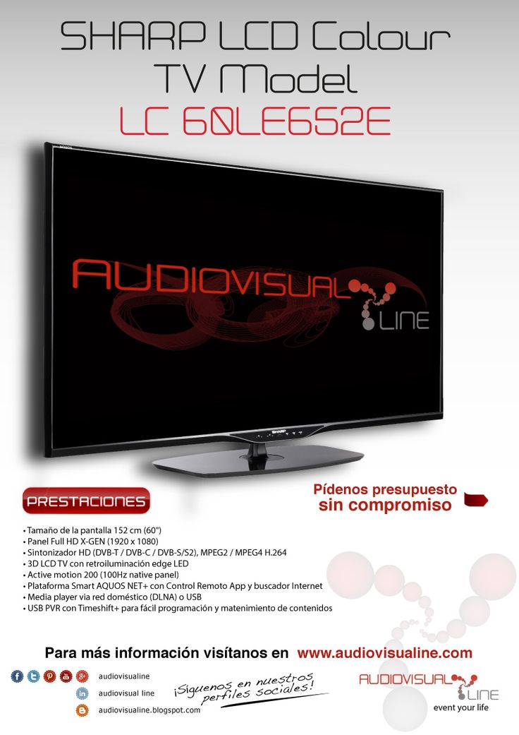 Alquiler de pantalla de 60 pulgadas, el televisor LC-60LE652E de Sharp asocia una pantalla X-Gen a la retro iluminación Edge LED para unas imágenes particularmente luminosas y contrastadas; además, con la tecnología Active Motion 200 integrada, la fluidez está optimizada y garantizada.