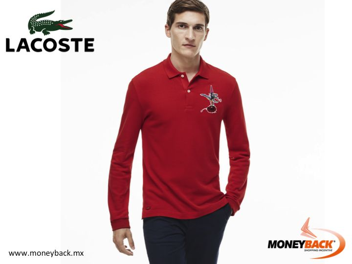 MONEYBACK MEXICO. Elegance meets daring in this heavy cotton piqué polo with its revamped embroidered croc. Jean-Paul Goude created this exclusive piece for Lacoste. Shop LACOSTE in Mexico and get a tax refund! #moneyback www.moneyback.mx