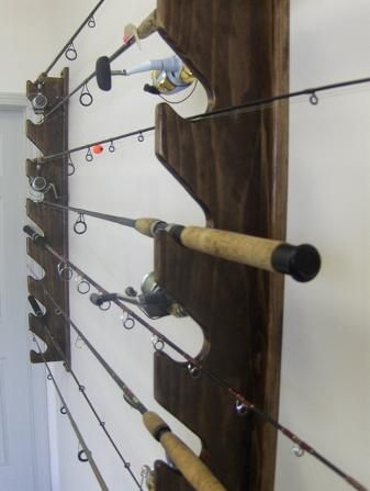 Wall mounted rod holders want to make these for the boys for Wall fishing rod holder