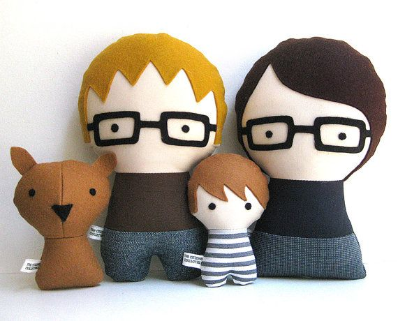 Custom family dolls designed to look like your family, on Etsy. Love these so much! Father's Day gift perhaps?