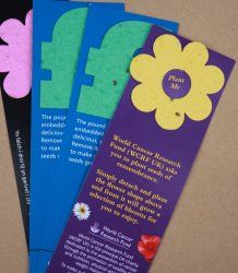 Bookmarks    Seed Paper makes simple, sustainable and fun bookmarks. We can either create the entire bookmark out of Seed Paper or have just a shaped tip which you plant and grow. We can produce a wide varitey of colours and shapes to suit any brief. Seed Paper bookmarks are ideal for POS, relevant retail launches, press launches, events, exhibitions, employee engagement and any sustainable or environmentally themed promotion.