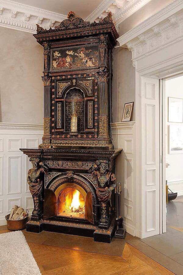 Stunning corner gothic victorian fireplace.