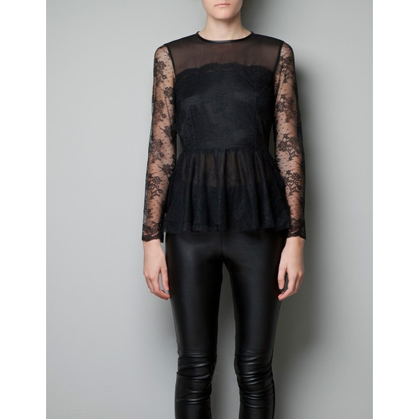 Zara Sheer Lace Peplum Top ($30) found on Polyvore