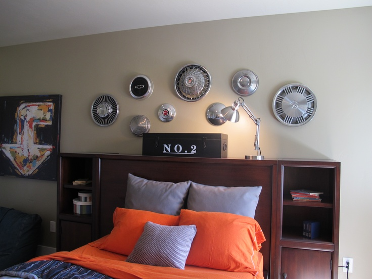 (Utah Valley Parade of Homes 2011) use old hubcap things on the wall