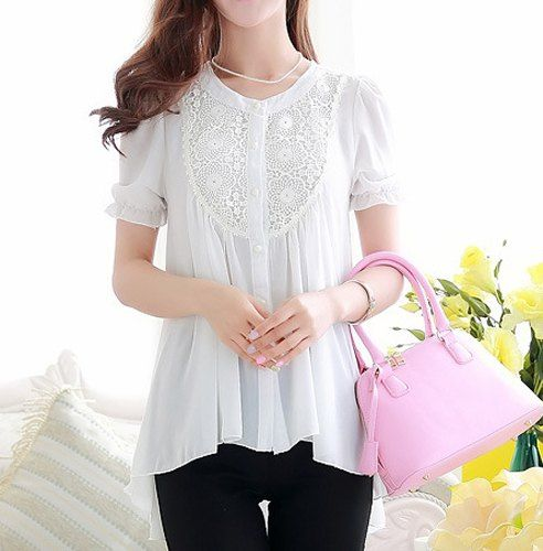 Lace Splicing Scoop Neck Single Breasted Irregular Hem Short Sleeve Casual Blouse For Women
