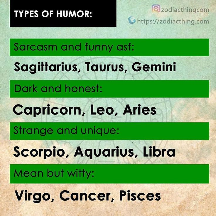 Zodiac: Types of humor