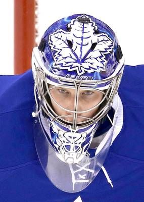 James Reimer - Toronto Maple Leafs (from Fox Sports, a gallery of NHL goalie masks of 2013 -- 51 images and a little commentary for each one) (I'm too lazy to pin anyone other than Reimer, so click on the pic to see the rest of them)