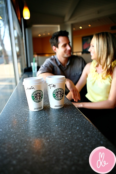 Starbucks...engagement photo idea.  A must for Bryan and me.