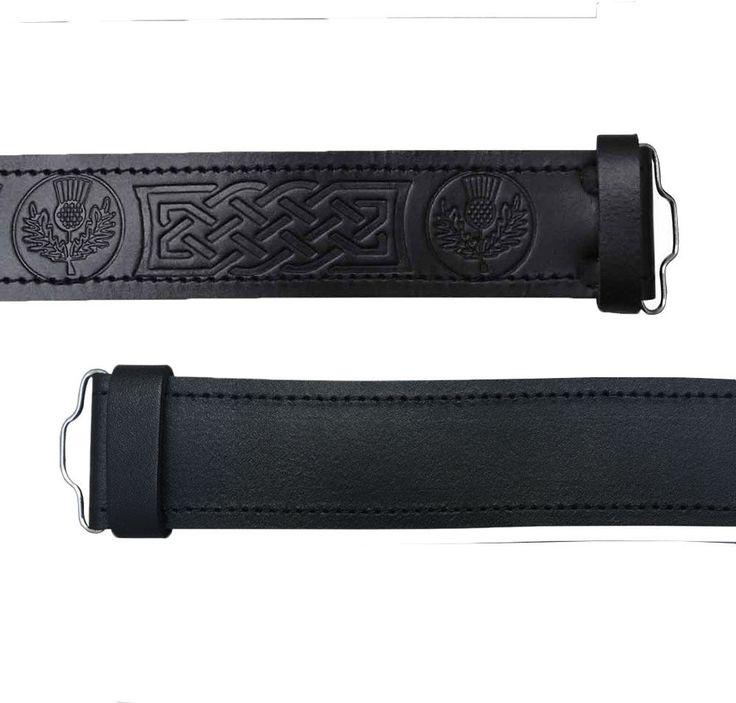 Scottish Highland Black Embossed Thistle, Plain Leather Kilt Belts #AllSafe #Belt