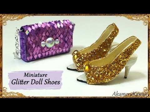 Glittery Doll Shoes - Polymer Clay/Fabric Tutorial - YouTube